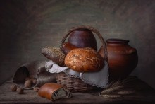 Still Life With Bread In A Rus...