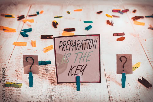 Handwriting text writing Preparation Is The Key Wallpaper Mural