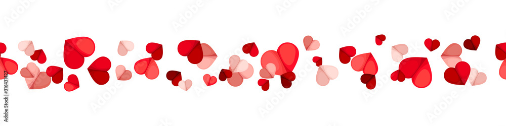 Fototapeta Vector Valentine's day horizontal seamless background with red and pink hearts on a white background.