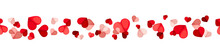 Vector Valentine's Day Horizontal Seamless Background With Red And Pink Hearts On A White Background.