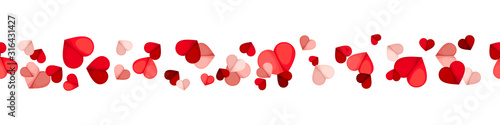 Vector Valentine's day horizontal seamless background with red and pink hearts on a white background. - 316431427