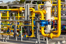 Gas Industry. Pipeline And Valves System At A Gas Production And Processing Plant