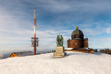 Radhost Mountain Peak, Chapel Of St. Cyril And Methodius, Their Statue And Transmitter, Beskydy, Czech Republic