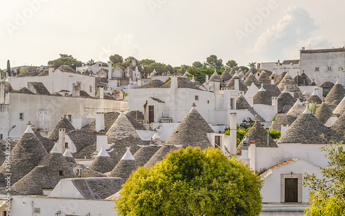 Scenic panoramic view of Alberobello and trulli buildings, Apulia, Italy Canvas Print