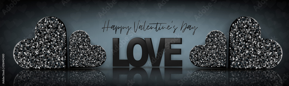 Fototapeta Valentines Day design. Luxury banner background. Love concept with black glitter heart with glass surface reflection. Romantic website header or sale advertisement promo. Vector illustration.