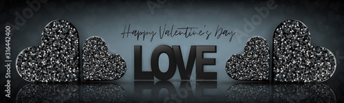 Fototapeta Valentines Day design. Luxury banner background. Love concept with black glitter heart with glass surface reflection. Romantic website header or sale advertisement promo. Vector illustration. obraz