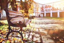Bench In Autumn Park Landscape...