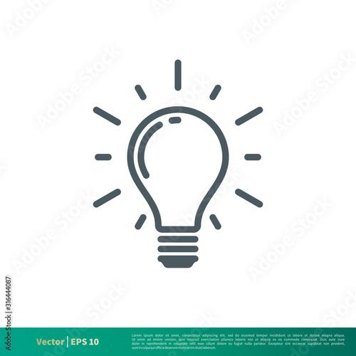 Cuadros en Lienzo Light bulb icon vector logo template