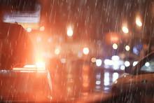 Night Rain Cars Lights / Autum...