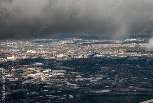 Canvas Print Aerial view of North London including Wembley Stadium, London