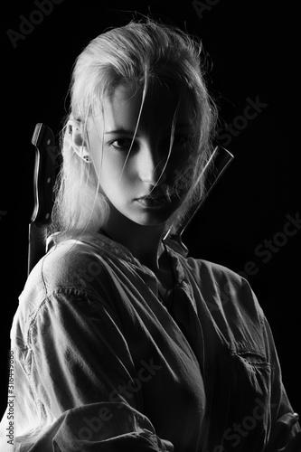 Obraz na plátně woman with knives