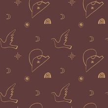Picasso Style Dove Seamless Pattern. Love And Peace Symbol. Vector