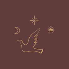 Line Drawing Pigeon In Picasso Style. Love And Peace Symbol. Vector