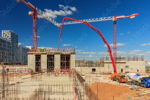 concrete pump building under construction Poster Mural XXL