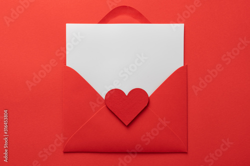 Obraz na plátně valentines day love letter Flat lay background