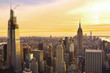 New york City architecture with Manhattan skyline at dusk , NY, USA. View from above.