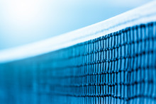 Tennis Net And Blue Court. Ind...