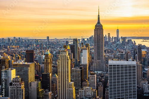 Fototapety, obrazy: New york City architecture with Manhattan skyline at dusk , NY, USA. View from above.