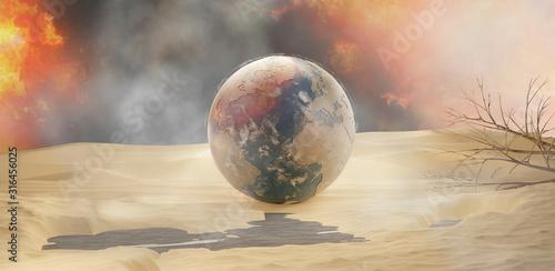 Photo desert and planet earth 3d-illustration sand design
