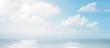 Leinwandbild Motiv blue sky white clouds ocean background photo