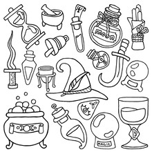 Witchcraft. Wicca And Pagan Traditions. Magic Items. Drawn Elements: Witch Hat, Potion Bottles, Ritual Daggers, Mortar And Pestle, Crucible, Hourglass, Crystal Ball, Cauldron, Etc. Occult Symbols.