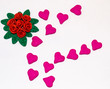 Red roses plasticine made are many rose and hearts arrange on white background