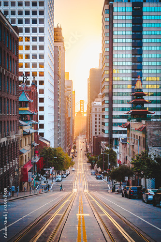 Downtown San Francisco with California Street at sunrise, San Francisco, Califor Canvas Print