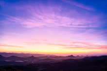 Purple, Magenta Sunset Over Mo...