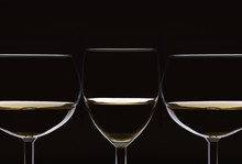 Closeup Of Three Glasses Of Wh...