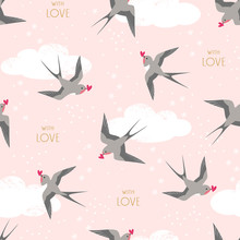 Seamless Pattern Of Flying Swallows Birds Carrying Hearts On Pink Cloudy Sky Background.