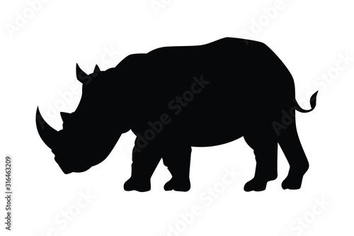 Fényképezés Rhinoceros ancient  animal silhouette vector