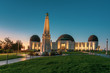 canvas print picture - Griffith Observatory at sunrise, near Los Angeles and the Hollywood Bowl