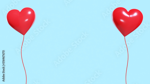 Stampa su Tela 赤いハートの風船が2つ浮いている、愛のコンセプト。