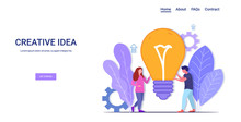 Businesspeople Brainstorming Holding Bright Bulb Successful Teamwork Creative Big Idea Business Inspiration Concept Man Woman Coworkers Couple With Light Lamp Horizontal Copy Space Full Length Vector