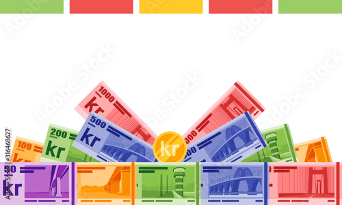 Obraz na plátně Annual Bonus Gift featuring Danish Krone Banknotes money vector template, good for landing page, infographic, web, social media post or other digital and print usage
