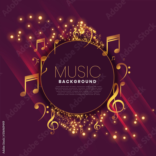 Fototapeta shiny music background with notes and sparkle obraz