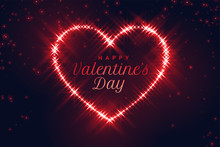 Red Sparkling Heart For Valentines Day Design