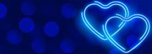 Glowing Neon Blue Hearts Bokeh...
