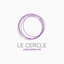 Purple Circles Logo Design Inspiration . Le Cercle Logo Design Template . Abstract Multiple Circle Logo