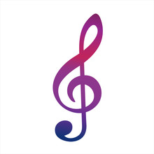 Colorful Music G-Clef Icon. Ve...