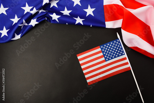 Fotografia, Obraz Martin luther king day, flat lay top view, American flag democracy