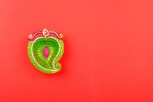 Happy Diwali Day, Flat Lay Top View Colorful Clay Diya Lamps