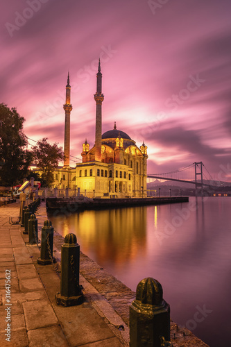 Ortakoy mosque and Bosphorus bridge at sunrise, Istanbul, Turkey Canvas Print
