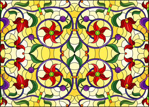 Naklejka kwiaty na szybę  illustration-in-stained-glass-style-with-abstract-swirls-red-flowers-and-leaves-on-a-yellow