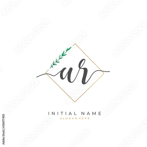 Handwritten initial letter A R AR for identity and logo Wallpaper Mural