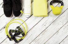 Running Shoes, Drink Bottle, Towel, Copy Space