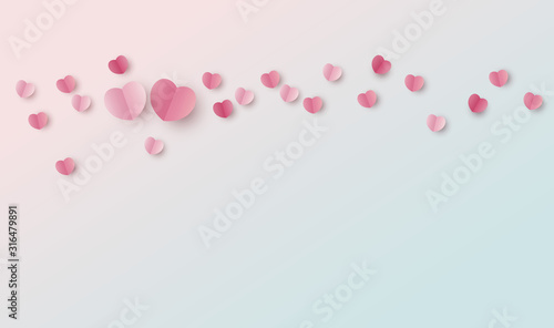 Obraz Valentines day background design of paper hearts with copy space vector illustration - fototapety do salonu
