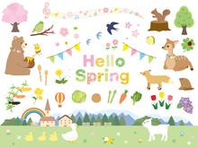 春 動物と自然 素材集