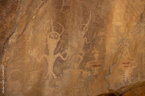 Photo Ancient Alien Figures in Native American Cultural Rock Art Petroglyphs