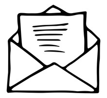 Vector Illustration. Hand Drawn Doodle Of Opened Envelope. Incoming Message Has Been Read.